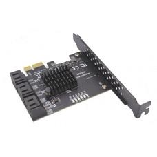 SATA контролер PCI-E x1 6Gb 6xSATA III 6Gb/s 16Tb Support HDD ASMedia ASM1166 плата розширення PCI-Express Сата 6 портів 6Gbps підтримка 16Тб CHIA