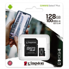 Kingston microSDXC 128Gb Canvas Select Plus Class 10 UHS-I U1 V10 A1 + SD-адаптер (SDCS2/128GB)