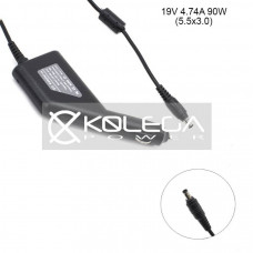 Car +USB QC3.0 Samsung 19v 2.1a, 2.37a, 3.33a, 3.5a, 4.74a 5.5mm*3.0mm pin inside