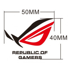 Наклейка Asus Republic of Gamers ROG logo Red-Black Sticker Metal 50x40mm